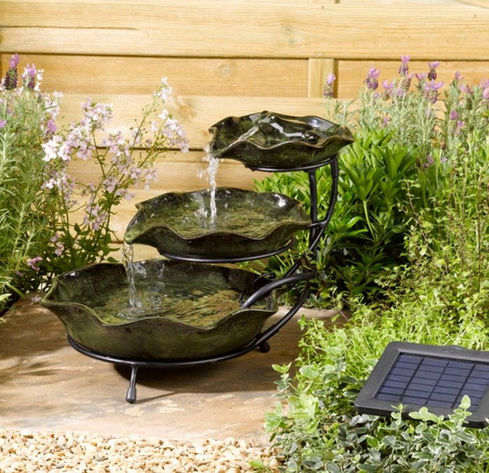the solar garden fountains are inexpensive and can be found in