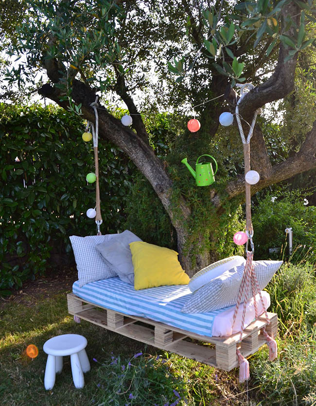 DIY pallet swing bed 4