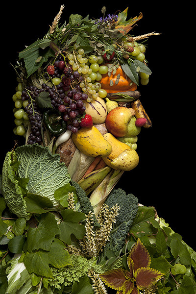 Creative Portraits Made of Fruits, Vegetables & Flowers