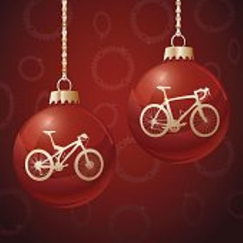 Red Christmas Ornament Balls with Bikes