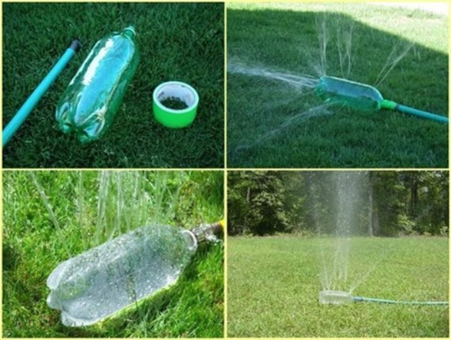 Reuse old plastic bottles in your garden creatively for Aspersores de riego para jardin