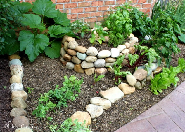 Diy create a small spiral vegetable garden for Creating a vegetable garden