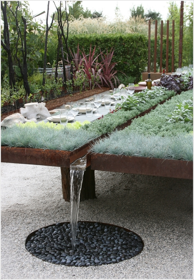 source raised bed with rainwater collector and dining table - Best Raised Garden Beds
