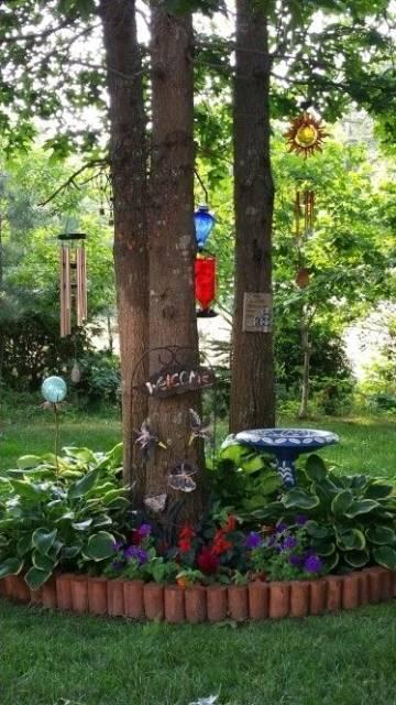 Garden Decorating Ideas: 15 Small Flower Gardens Around Trees