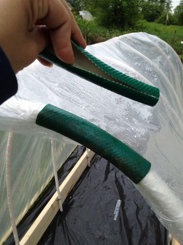 14-Use-An-Old-Hose-To-Keep-Plastic-On-A-Raised-Bed-Garden