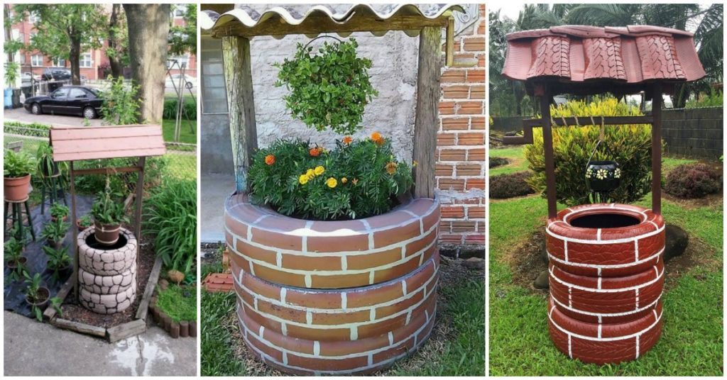 Build A Wishing Well Planter From Recycled Tires Site